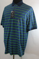 Roundtree And Yorke Polo Stripe Dark Navy Green Size L