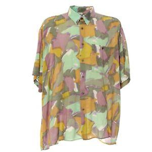 Hemd-Herren-Kurzarm-Groesse-XL-Kentkragen-Retro-Mehrfarbig-Muster-Freizeit-Shirt