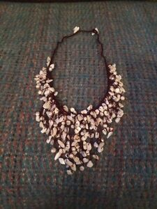 Pretty Handmade Necklace NEW Cream And Pearlescent Beading On Brown Threading - Darwen, Lancashire, United Kingdom - Pretty Handmade Necklace NEW Cream And Pearlescent Beading On Brown Threading - Darwen, Lancashire, United Kingdom