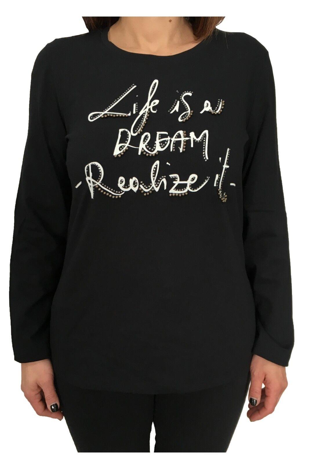 Elena  Mirò Camiseta de Mujer Negro Aplicaciones 94%Algodón 6%Elastano  compras de moda online