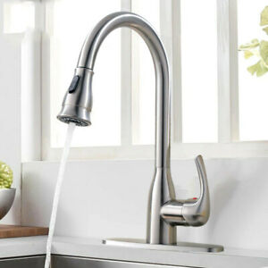 Commercial Kitchen Faucet Single Handle Brushed Nickel Pull Down Sprayer Cover
