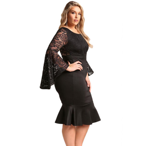 Women Plus Size Evening Cocktail Dresses Lace Bell Sleeve Mermaid Dress Bodycon