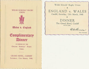 Wales v england 13 mar 1948 schools under 16 rugby dinner menu card image is loading wales v england 13 mar 1948 schools under stopboris Image collections