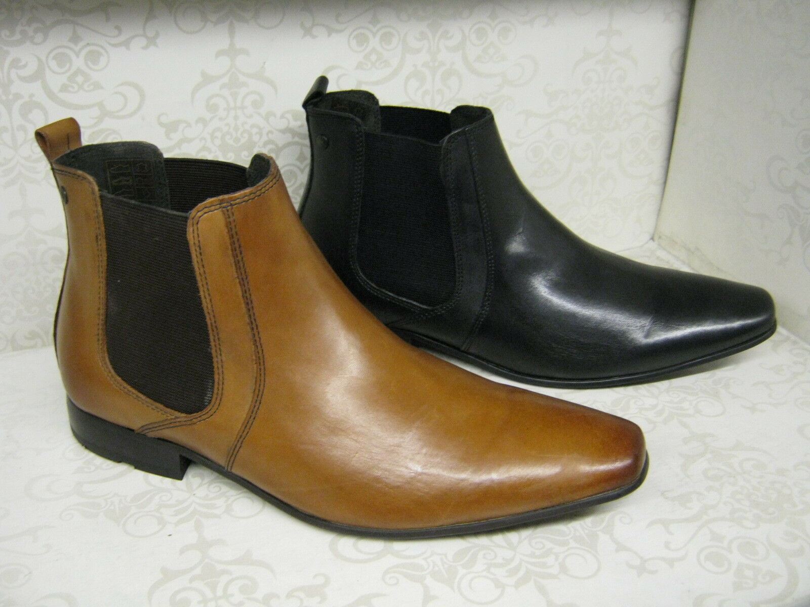 Mens Base London Arthur Tan or Black Waxy Leather Chelsea Boots
