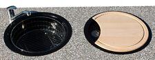 Rieber Rundspüle Spüle Brett Korb Spülbecken Küchenspüle Einbauspüle schwarz NEU