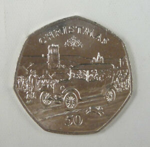 Isle-Of-Man-Coin-50-Pence-1983-Uncirculated-Christmas-Ford-Model-T-Car