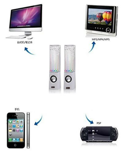 New White Dancing Water Speakers USB Dancing Fountain speakers PC Mac MP3 Phones
