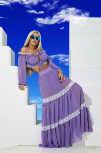 By Alina 2-Teiler Damenrock Maxirock langer Rock Bluse bauchfrei Strandkleid