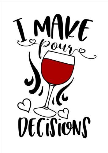 """Rouge et Vin Blanc Décoration Imprimé et encadrée Produit /""""Je fais pour les décisions/"""""""