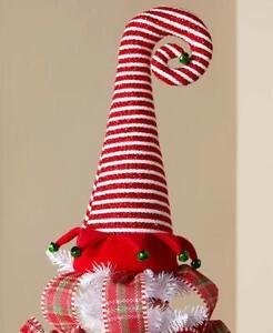 Unique Red & White Santa's Elf Top Hat Christmas Tree Topper