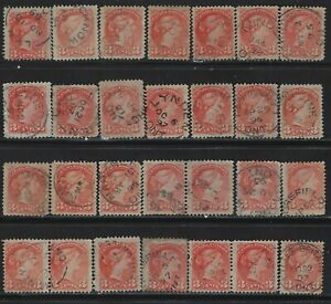 CANADA-3c-SMALL-QUEEN-VICTORIA-USED-STAMPS-LOT-WITH-DATED-CANCELS