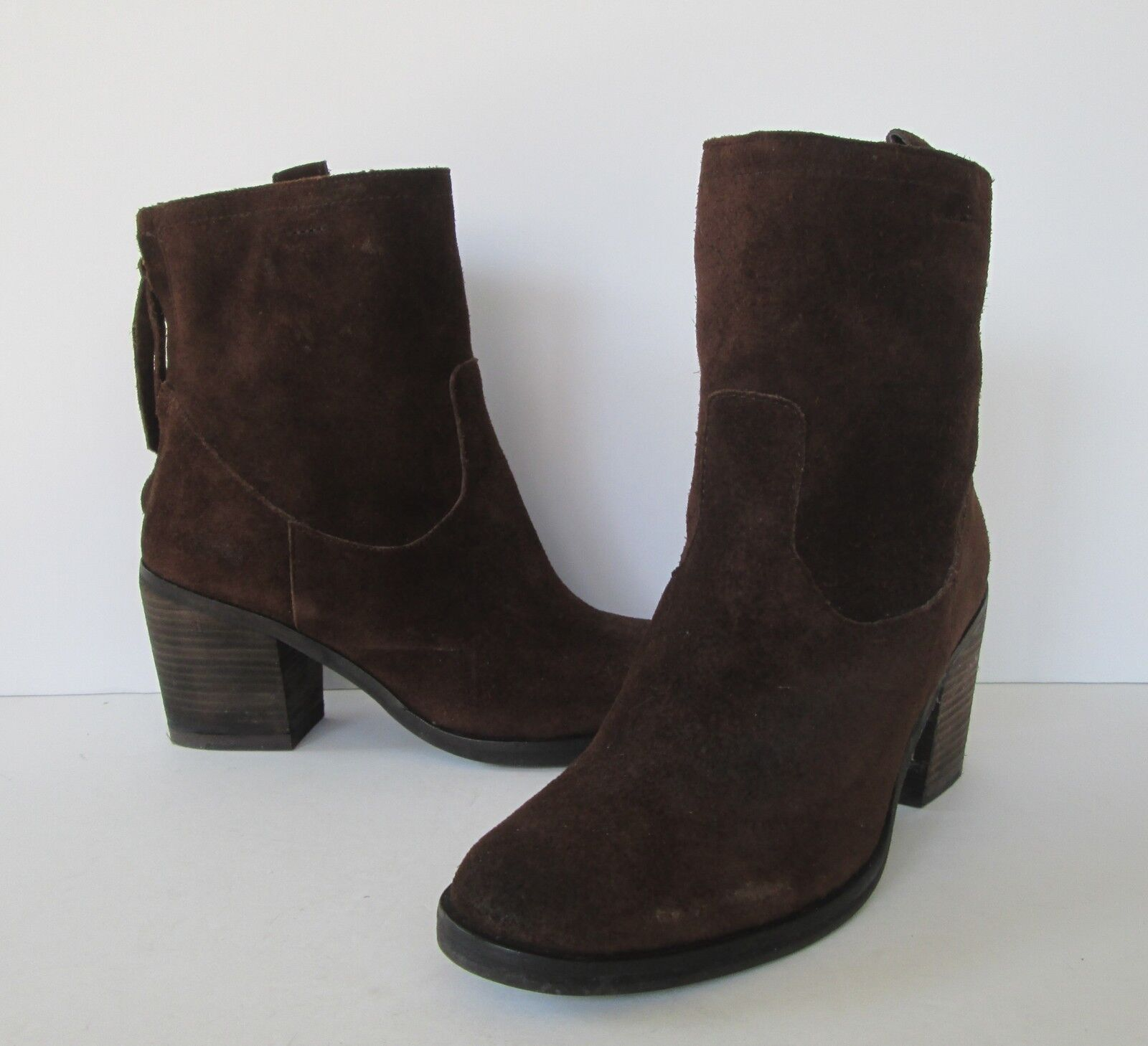 Sam Edelman Womens Brown Suede Leather  Farrell  Zip Back Ankle Boots 6 M