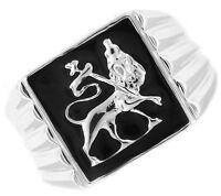 Lion Of Judah .925 Sterling Silver Black Epoxy Mens Ring
