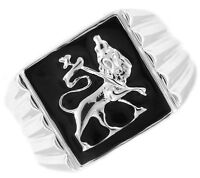 Lion Of Judah .925 Sterling Silver Black Epoxy Mens Ring