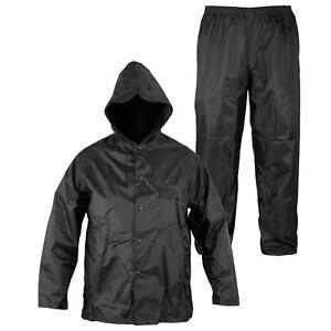 Detalles de Rainsuit Impermeable Pantalon Chaqueta hombres señoras Capucha Traje  lluvia Azul 58526f5c786