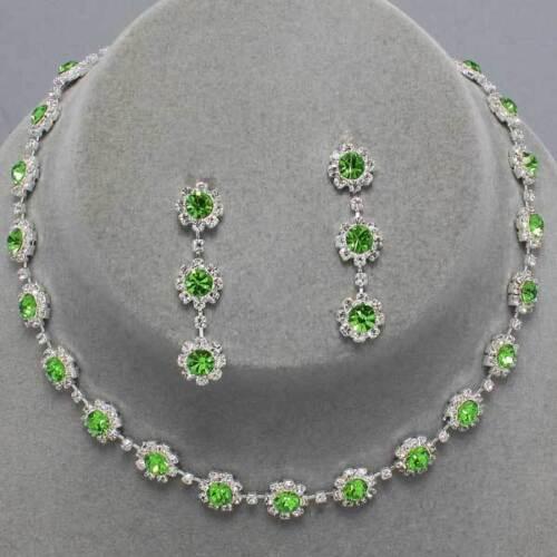 Cristal Verde Diamante Daisy Collar conjunto Prom Bridesmaids Galas Brillante 0241