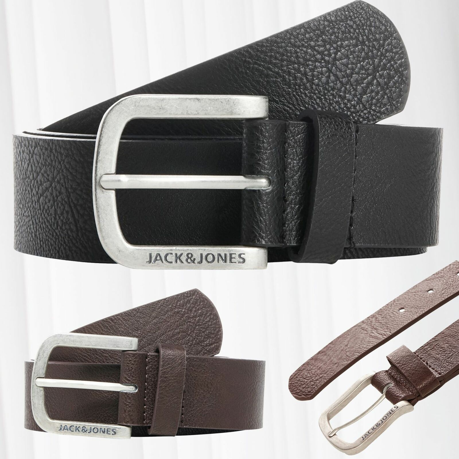 JACK & JONES Men JACHARRY Leather Belt Classic Basic Brand Logo Metal Buckle