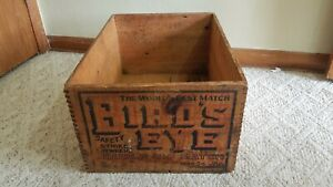 Antique-Birds-Eye-Diamond-Match-Co-Advertising-Wood-Crate-Dovetail-Joints