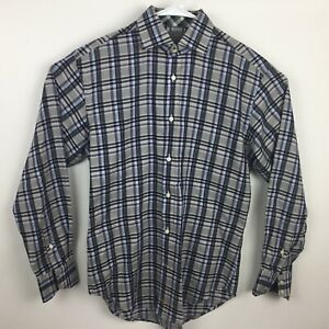 Thomas-Dean-Plaid-Mens-Small-Long-Sleeve-Button-Front-Shirt-Flip-Cuffs