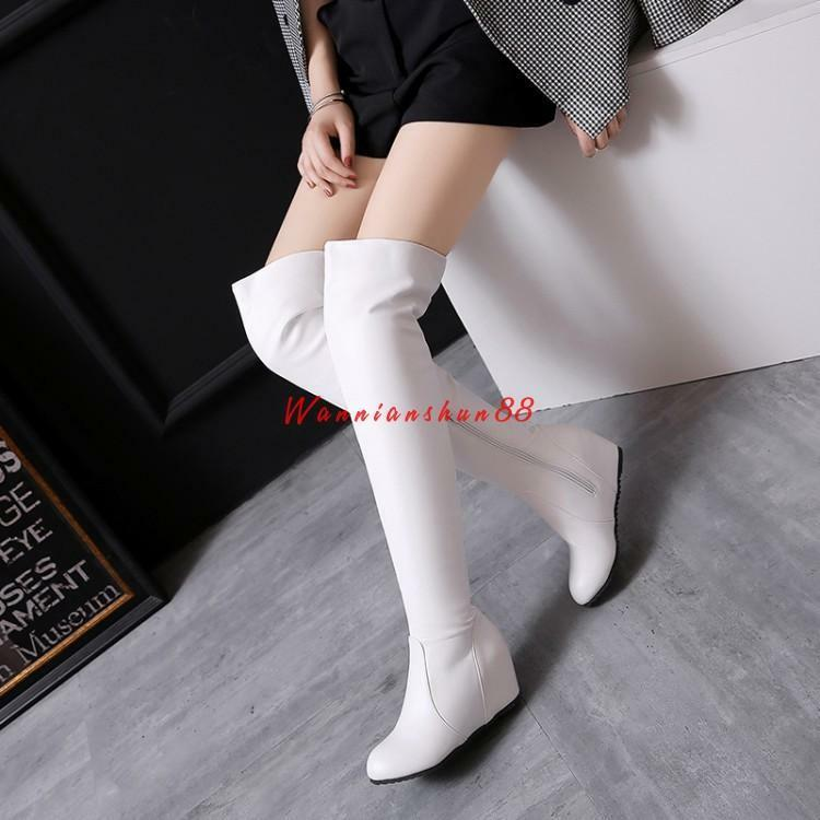 Women's PU Leather Hidden Wedge high Heels Over the Knee High Boots shoes