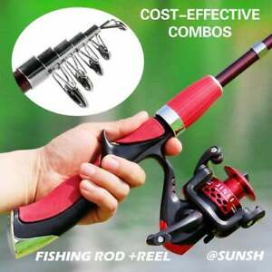 Telescopic Fishing Rod and Reel Combo 1.4M Fishing Rod /& Spinning Reel JM200