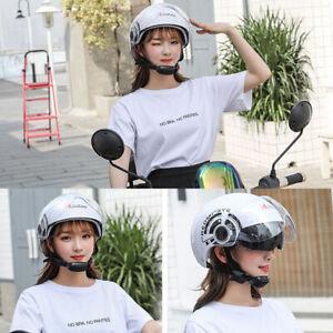 White-Motorcycle-Helmet-Half-Face-Dual-Sun-Visor-Scooter-Chopper-Unisex-Helmet
