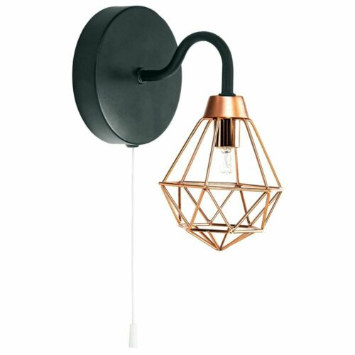 Industrial Matt Black Wall Light with Copper Plated Caged Shade and Pull Swit...