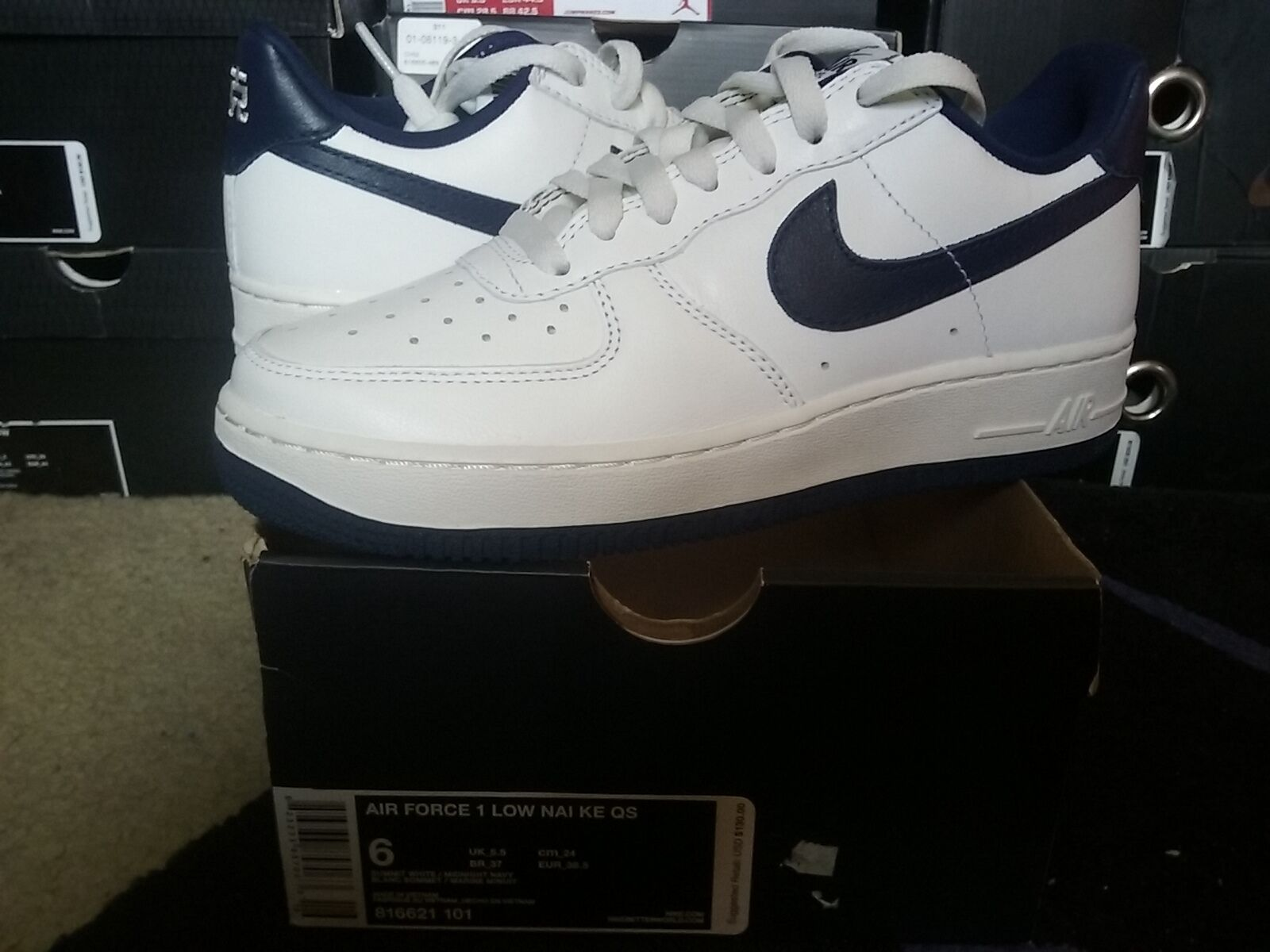 Nike Air Nai Force One 1 Low Nai Air Ke QS Chinese Summit White Midnight Navy 816621 101 778ba0