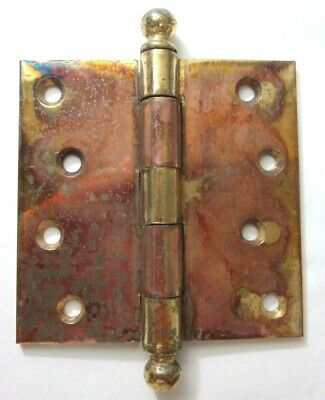 """Antique SW Stanley Sweetheart 3-1//2/"""" X 3-3//8/"""" Raw Steel Mortise Hinge Ball Tips"""