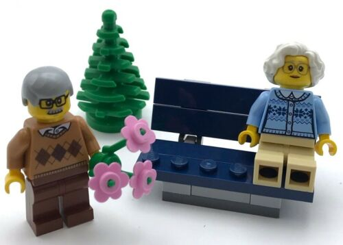 Lego New Grandma and Grandpa on Bench with Tree Flowers Grandparent Minifigures