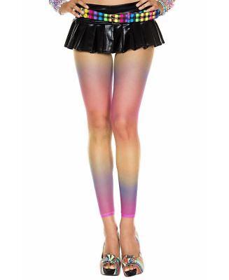 New Music Legs 35818 Rainbow Leopard Print Fishnet Leggings