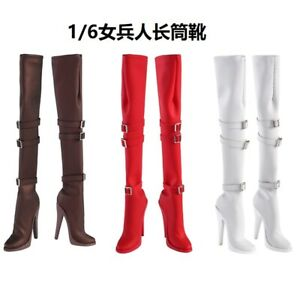 1-6-Female-Long-Boots-Shoes-Model-High-heels-Fit-12-039-039-HT-Phicen-Figure-body