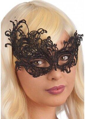 LACE Fabric Black Swan Venetian Masquerade Mask Metal Filigree Prom Halloween