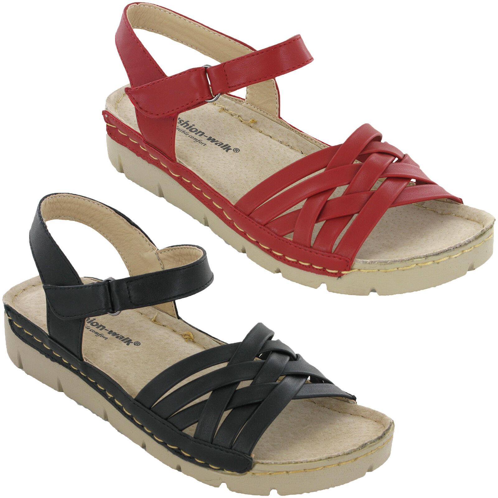 Cushion-Walk Platform Slingback Sandals Leather Lined Flat Womens Ankle Buckle