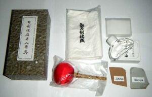 Japanese-Sword-Tsuba-Care-Polish-Kit-Uchiko-Oil-Washi-4-amp-HAZUYA-JIZUYA-20-gm