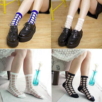 Womeng Girl's Vintage Plaid Checks Street Snap Short Socks Transparent Stockings
