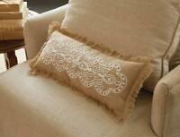 Mud Pie Knot Beau Scroll Lumbar Burlap 18 X 7.5 Decorative Throw Pillow