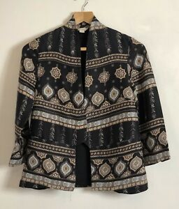 Monsoon-Edge-to-Edge-Ethnic-Print-3-4-Sleeve-Jacket-Coat-Size-8-Party-VGC