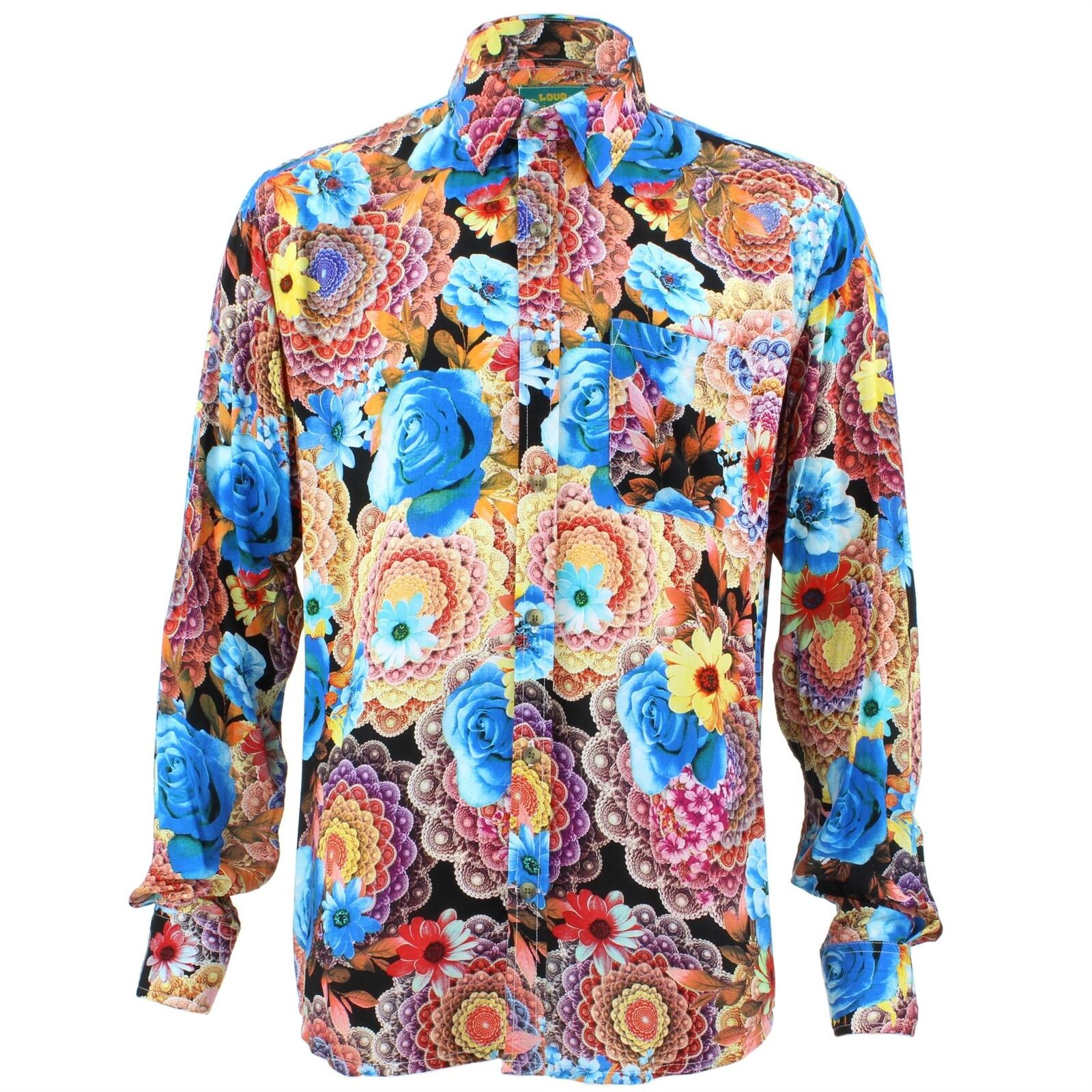 Men's Loud Shirt Retro Psychedelic Funky Party TAILORED FIT Bright Floral