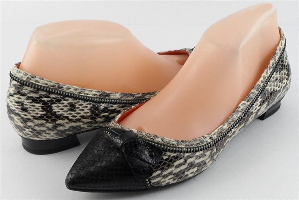 200 Crema Via Spiga Dottie Negro De Cuero De Serpiente Diseñador señaló Flats 7  cómodamente