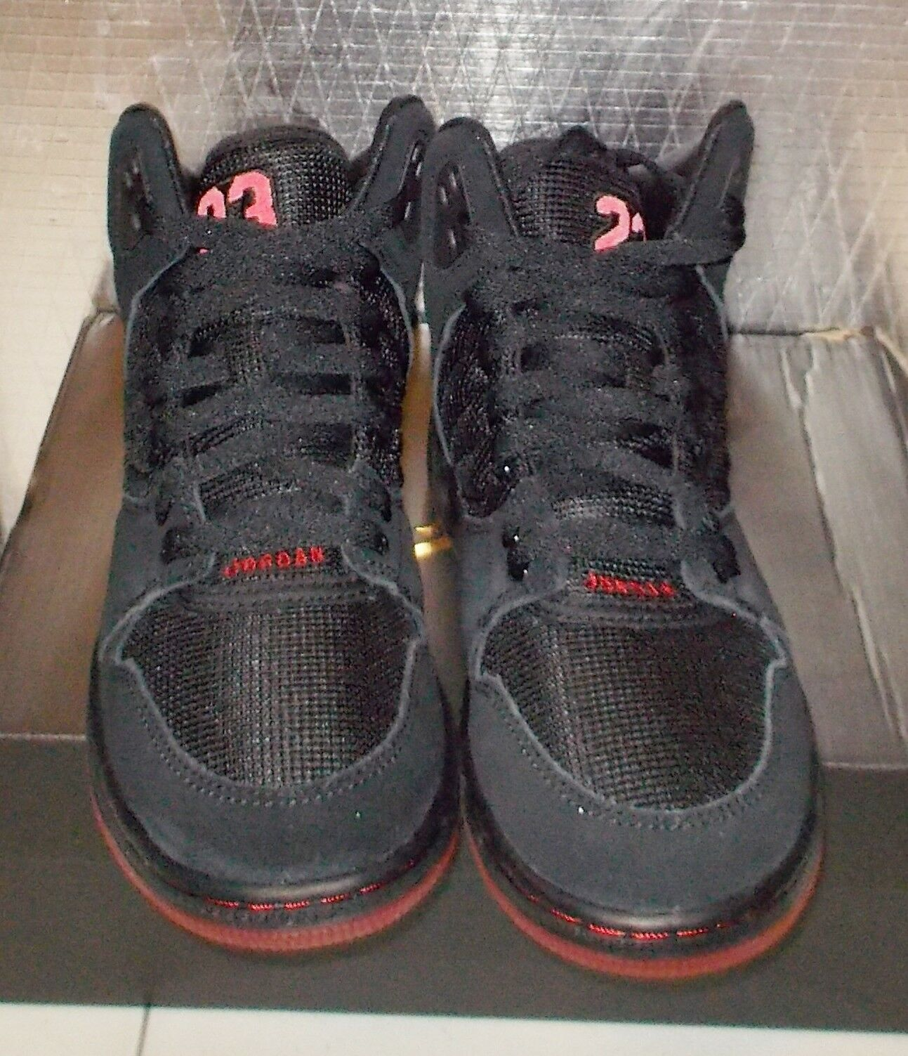 NIKE JORDAN 1 1 1 FLIGHT 4 PREM PREMIUM BG Womens 5.5 (4Y) Black Red 828237 060 NEW 091c37