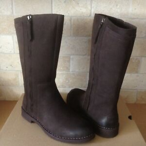 1ca682295a8 Details about UGG Elly Stout Water-resist Nubuck Leather Fur Tall Zip Boots  Size US 10 Womens