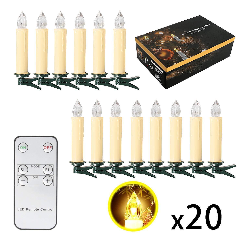 SunJas LED Kerzen -lichter Dekoration Weihnachten Set 20 Teile mit Kontrolle