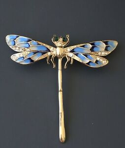 Unique-vintage-style-Dragonfly-brooch-pendant-enamel-on-metal