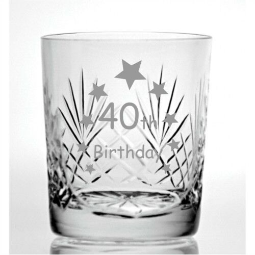 Cut Crystal 9oz Whisky Glass With Happy 40th Birthday Stars Design