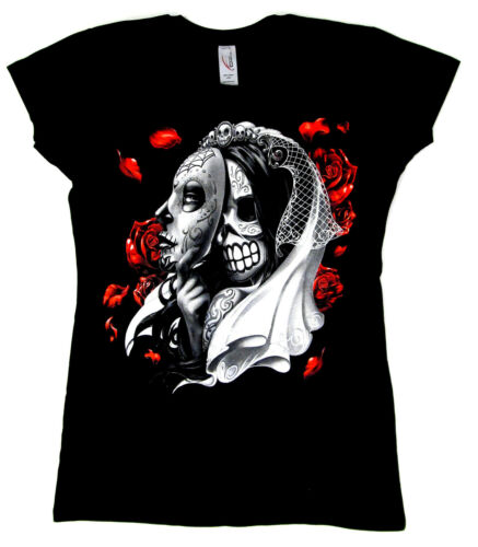 Dia De Los Muertos T-shirt Day Of The Dead Skull Mask JUNIORS Tee Women New