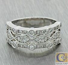 Vintage Estate 14k Solid White Gold .68ctw Diamond 8mm Wide Band Ring