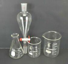 Chemistry Laboratory Lab Glass 4 Pieces Karter Beaker Pyrex Flask Anti Splash