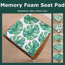 Tropical Leaf Cotton Linen Memory Foam Chair Pad Green Palm Leaves Seat Cushion