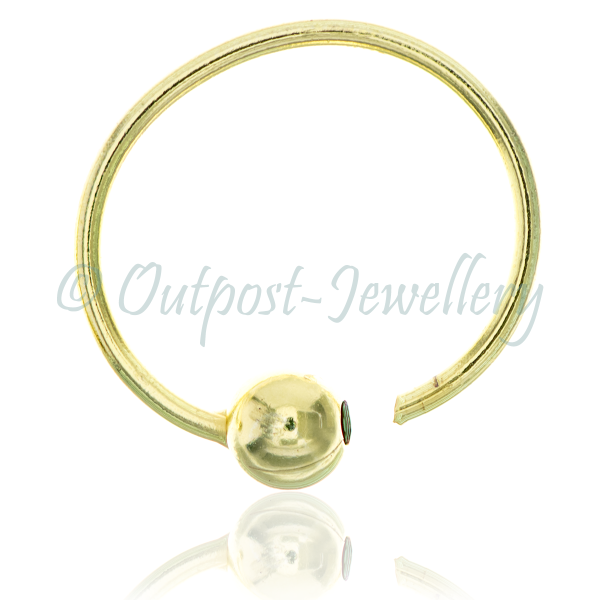 Gold Plated Sterling Silver Nose Ring Split 3mm Ball  Very Small Thin For Nose